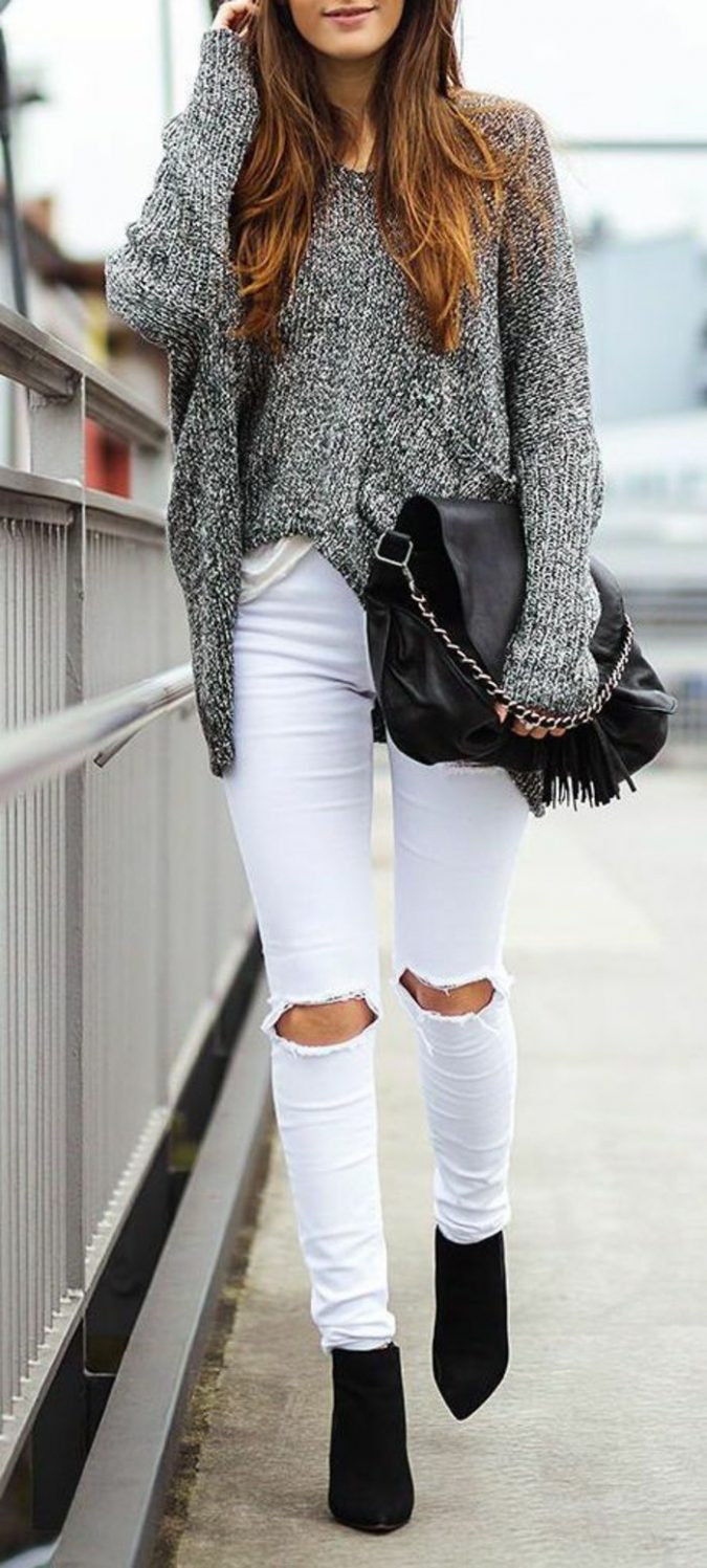 school-outfits-White-Jeans-675x1497 Top 12 Trending Back-to-School Outfits 2018/2019