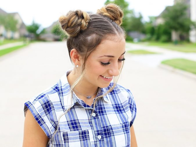 two-high-braided-buns-675x506 Top 10 Most Stylish Back to School Hairstyles 2018/2019