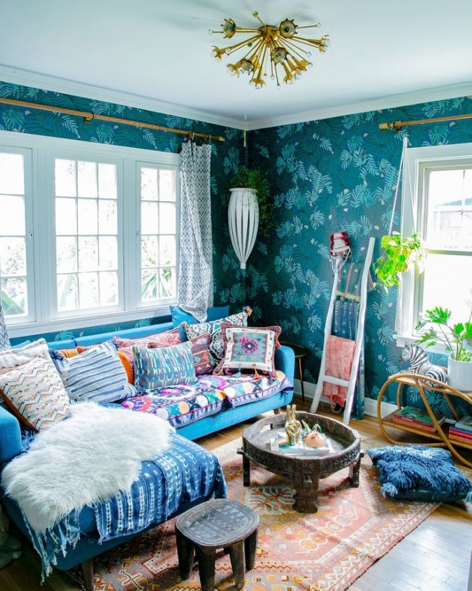 bohemian-decor-boho-style-living-ladder-675x844 +45 Stellar Boho Interior Designs & Trends for 2019
