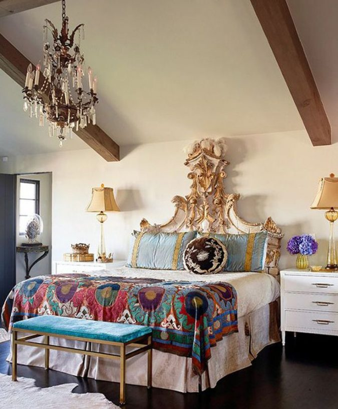 boho-and-classic-bedroom-home-decor-675x817 +45 Stellar Boho Interior Designs & Trends for 2020