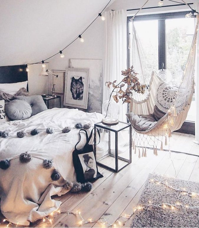 boho-bedroom-hanging-chair-675x775 +45 Stellar Boho Interior Designs & Trends for 2019