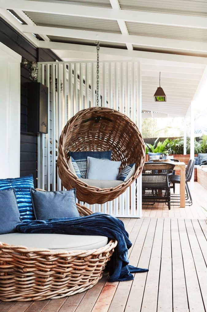 boho-decor-Hanging-chair-675x1013 +45 Stellar Boho Interior Designs & Trends for 2019