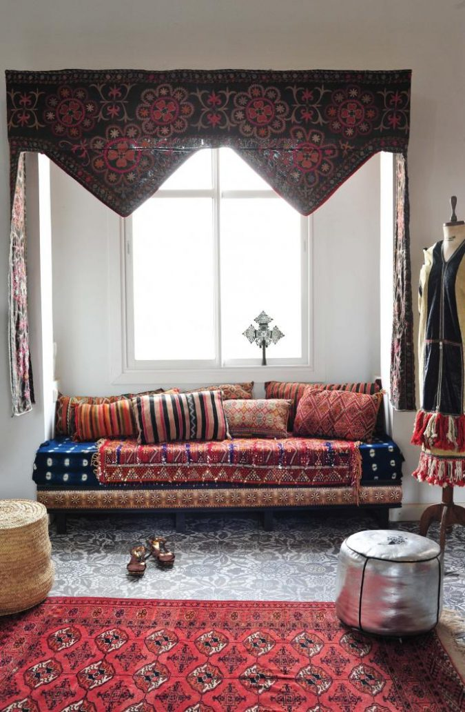 boho-decor-Ikat-furnishings-living-room-675x1032 +45 Stellar Boho Interior Designs & Trends for 2019