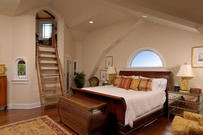 boho-decor-bedroom-ladder-675x448 +45 Stellar Boho Interior Designs & Trends for 2020