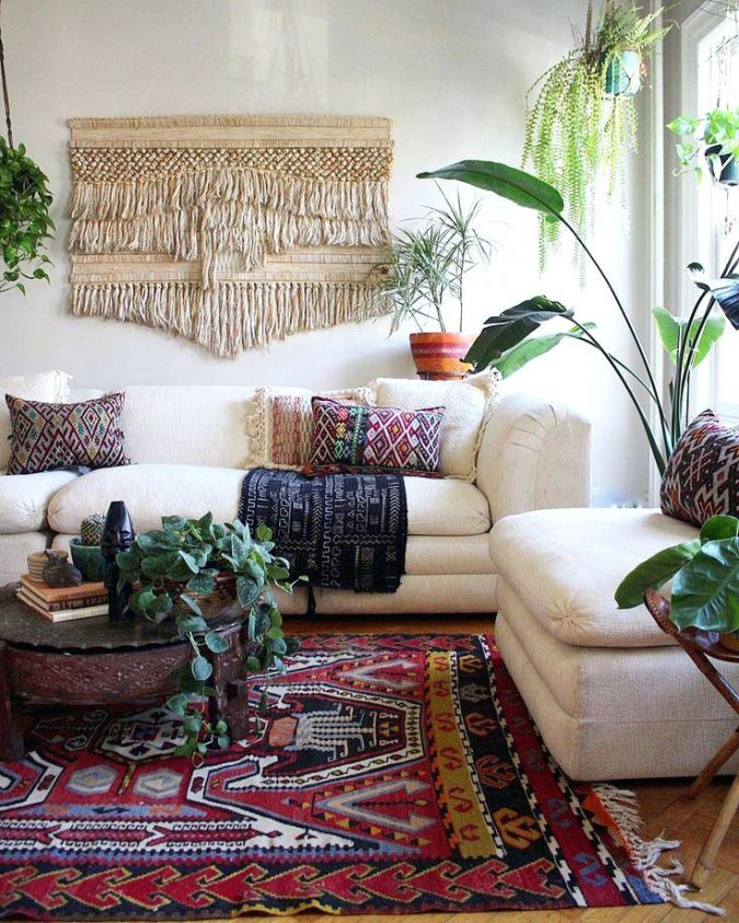 boho-decor-living-room-persian-rug-675x843 +45 Stellar Boho Interior Designs & Trends for 2019