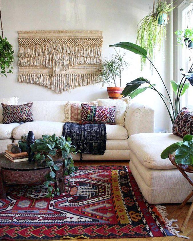 boho-decor-living-room-persian-rug-675x843 +45 Stellar Boho Interior Designs & Trends for 2020