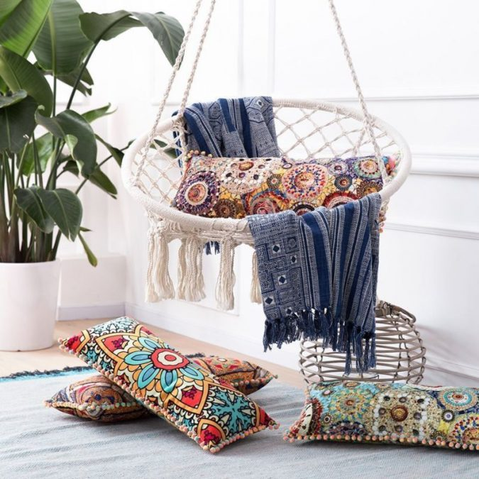 boho-hanging-chair-corner-boho-decor-675x675 +45 Stellar Boho Interior Designs & Trends for 2019