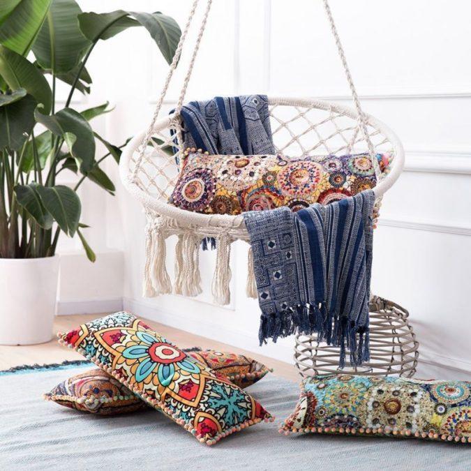 boho-hanging-chair-corner-boho-decor-675x675 +45 Stellar Boho Interior Designs & Trends for 2020