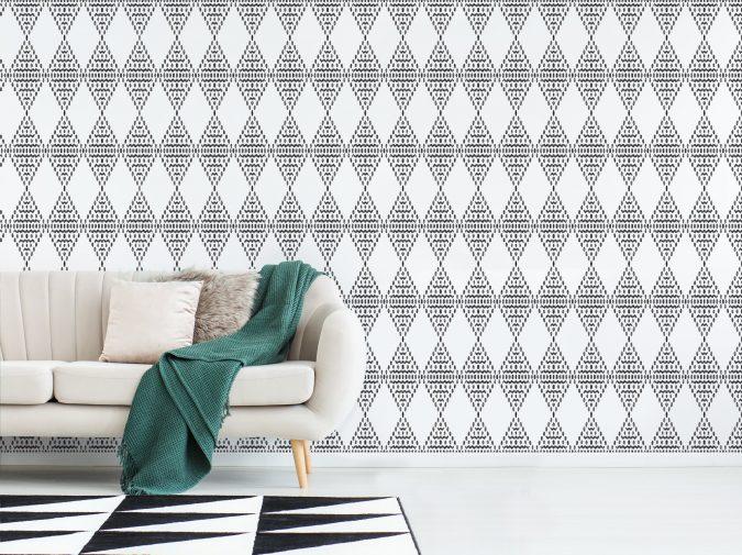 boho-home-decor-Ikat-printed-wall-675x505 +45 Stellar Boho Interior Designs & Trends for 2020