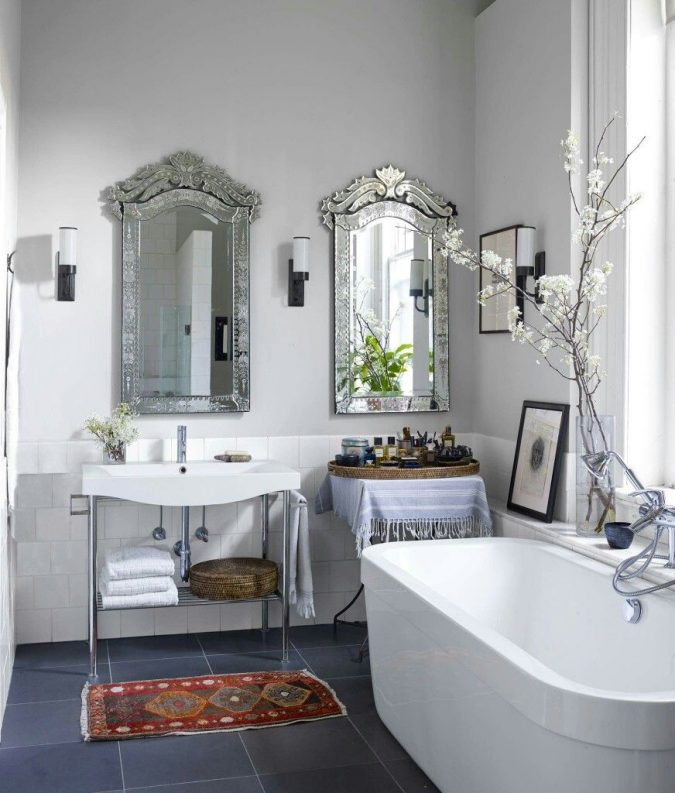 boho-home-decor-bathroom-venetian-mirrors-675x793 +45 Stellar Boho Interior Designs & Trends for 2019