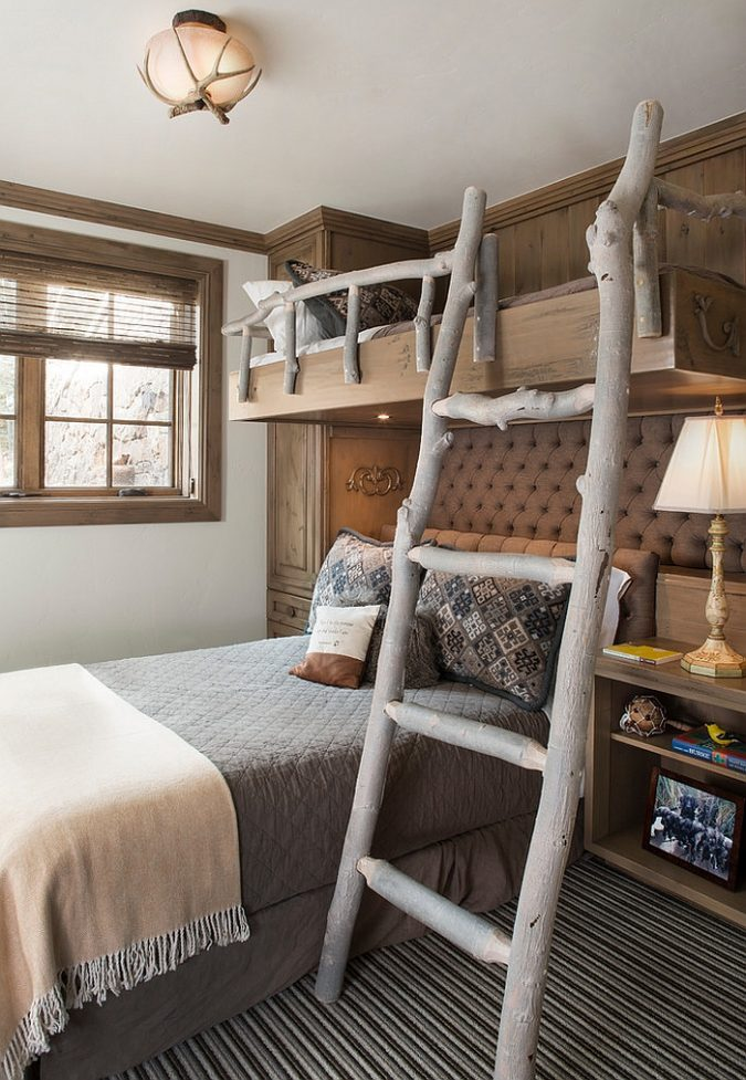 boho-home-decor-bedroom-ladder-Ladder-and-railing-on-the-bunk-bed-give-the-bedroom-a-cool-touch-675x977 +45 Stellar Boho Interior Designs & Trends for 2019