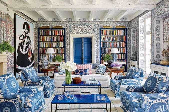 boho-home-decor-big-library-Ikat-prints-living-room-675x450 +45 Stellar Boho Interior Designs & Trends for 2019