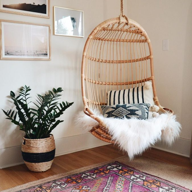 boho-home-decor-hanging-chair-corner-675x675 +45 Stellar Boho Interior Designs & Trends for 2019