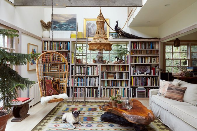 boho-home-decor-library-hanging-chair-Shireen-Dhaliwal-675x450 +45 Stellar Boho Interior Designs & Trends for 2019