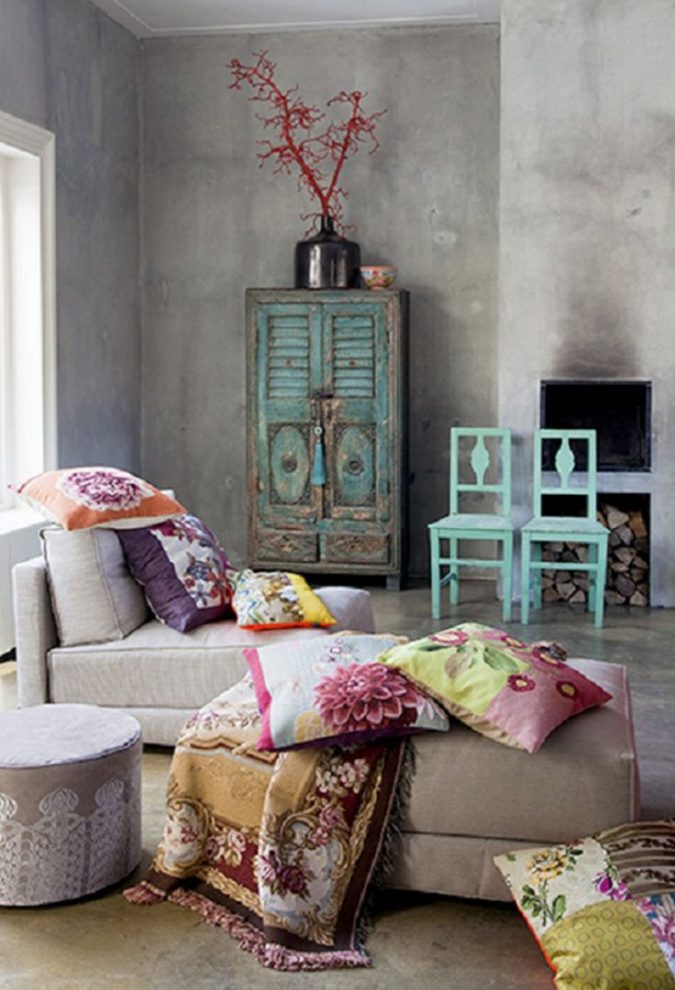boho-home-decor-living-room-2-675x990 +45 Stellar Boho Interior Designs & Trends for 2019