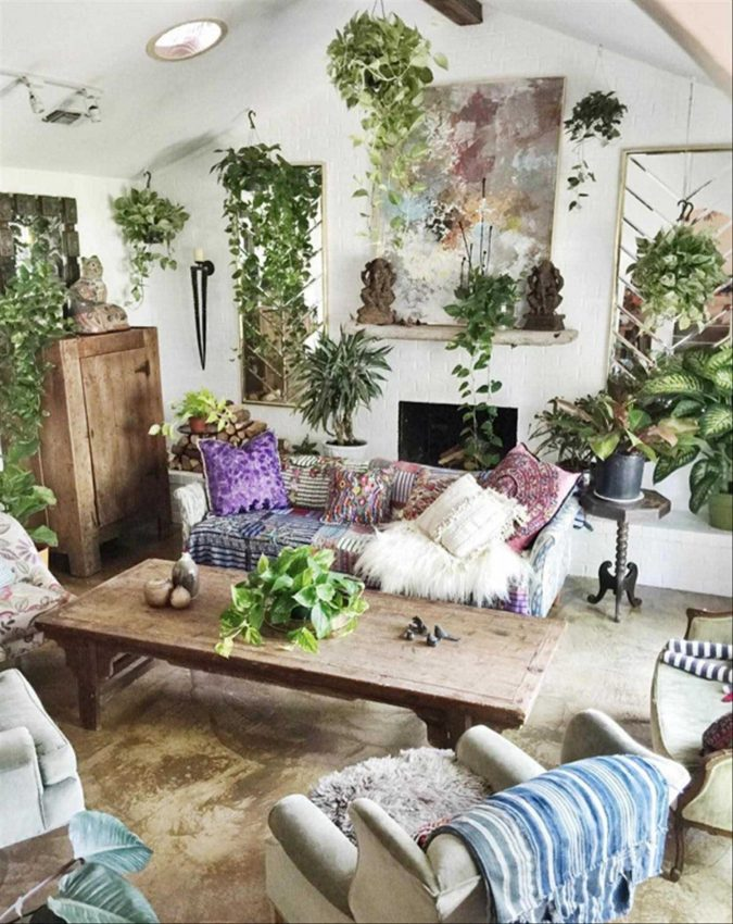 boho-home-decor-living-room-4-675x850 +45 Stellar Boho Interior Designs & Trends for 2019