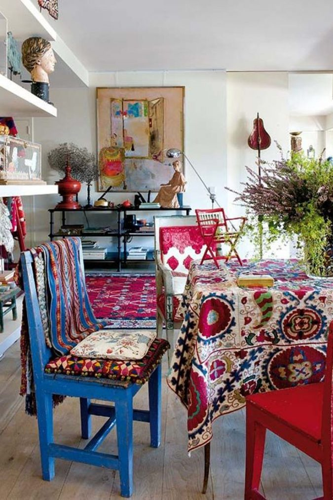 boho-home-decor-living-room-7-675x1013 +45 Stellar Boho Interior Designs & Trends for 2019