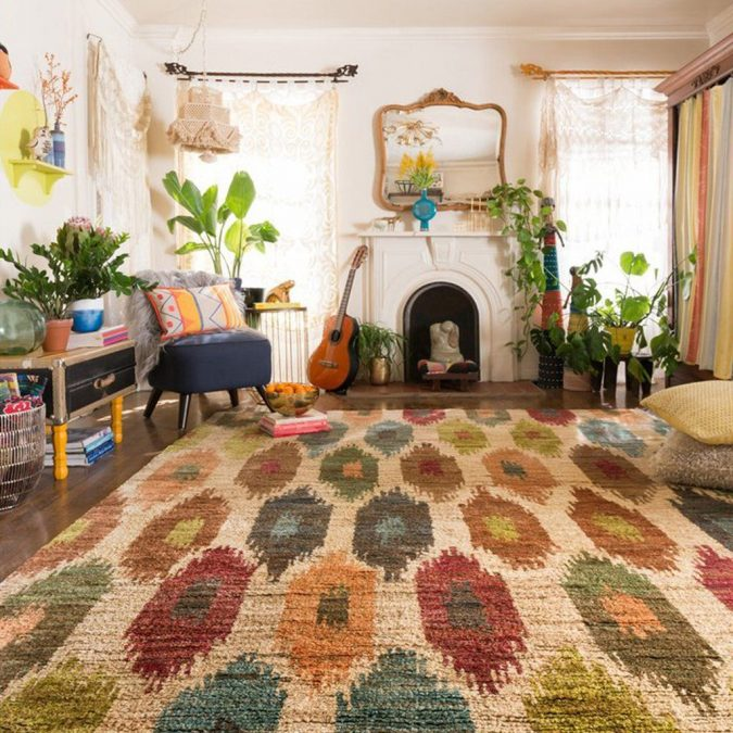 boho-home-decor-living-room-Ikart-rug-675x675 +45 Stellar Boho Interior Designs & Trends for 2019