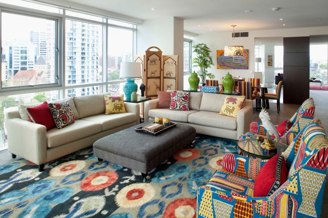 boho-home-decor-living-room-Ikat-prints-675x450 +45 Stellar Boho Interior Designs & Trends for 2019