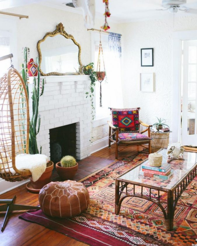 boho-home-decor-living-room-hanging-chair-675x843 +45 Stellar Boho Interior Designs & Trends for 2019