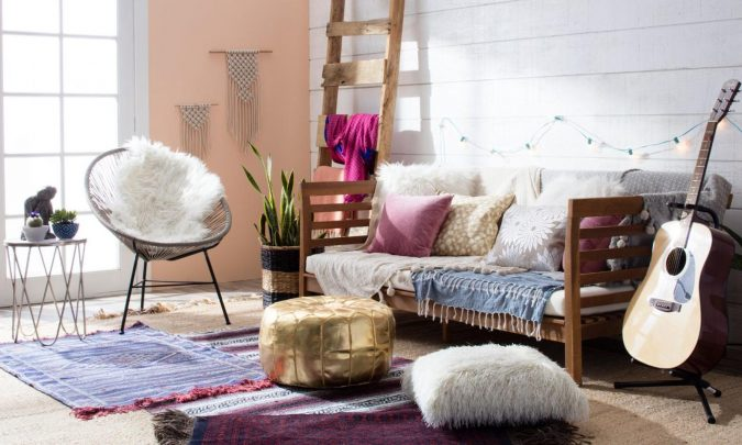 boho-home-decor-living-room-ladder-2-675x405 +45 Stellar Boho Interior Designs & Trends for 2019