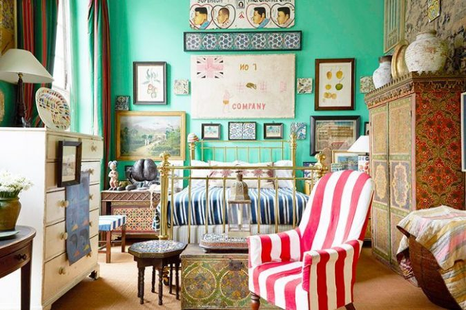 boho-home-decor-seafoam-green-walls-bedroom-675x450 +45 Stellar Boho Interior Designs & Trends for 2020