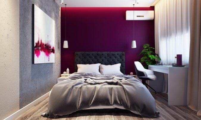 home-decor-bedroom-quilted-headboard-purple-accent-wall-675x402 Checklist: What to Consider When Decorating Your Bedroom