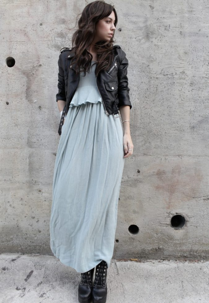 maxi-dress-biker-boots-boho-outfit-675x979 7 Bohemian Fashion Trends for Fall-Winter 2019