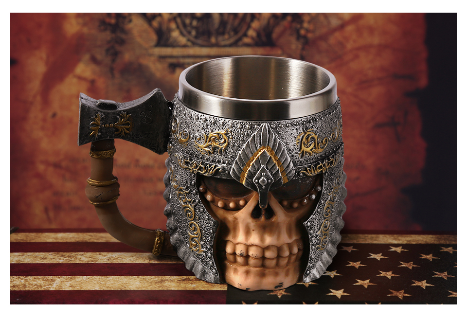 Creative-3D-Viking-Warrior-Skull-Mug-2 Creative 3D Viking Warrior Skull Mug