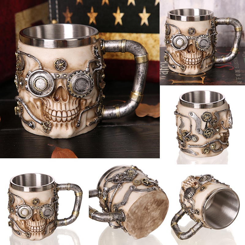Creative-3D-Viking-Warrior-Skull-Mug-9 Creative 3D Viking Warrior Skull Mug