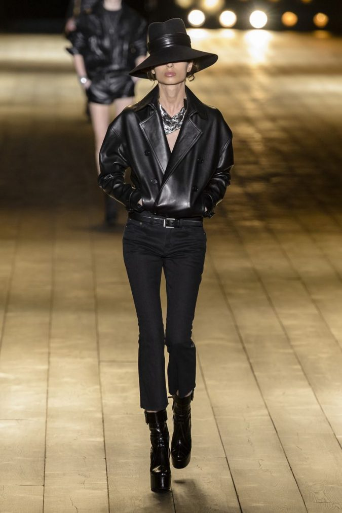 Leather-jacket-saint-laurent-fall-2018-675x1013 70+ Retro Fashion Ideas & Trends for Fall/Winter 2019