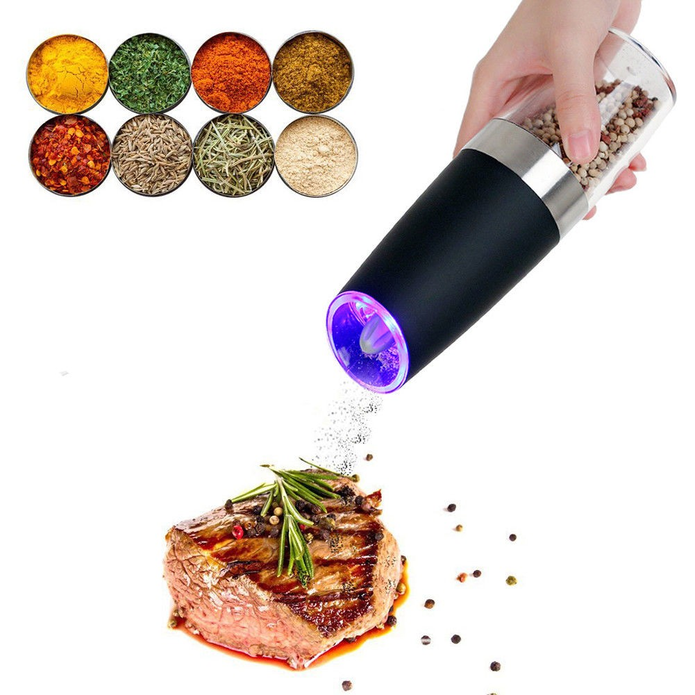Portable-Electric-Stainless-Steel-Pepper-and-Salt-Grinder-with-Blue-LED-Light-11 Smart Electric Grinder with Blue LED Light
