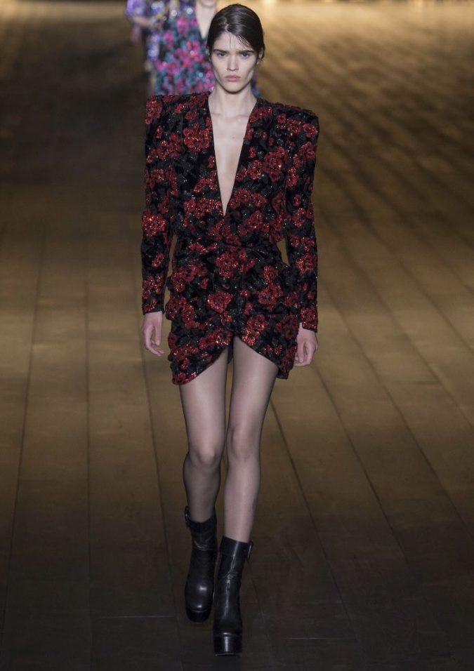 mini-dress-supersized-shoulders-Saint-Laurent-fall-winter-2019-675x956 70+ Retro Fashion Ideas & Trends for Fall/Winter 2019