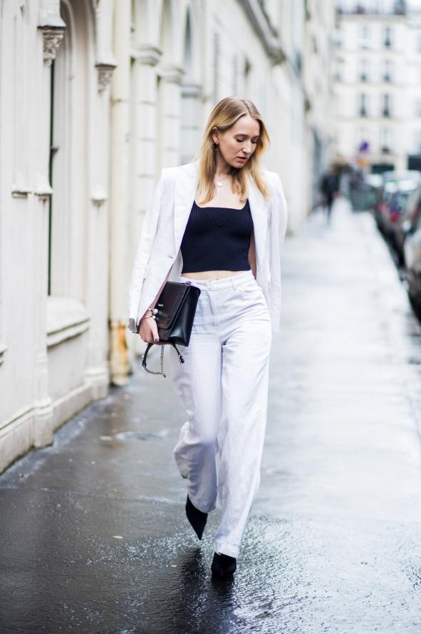 retro-fashion-winter-outfit-cropped-top-Paris-fashion-week-2018-2019 70+ Retro Fashion Ideas & Trends for Fall/Winter 2019