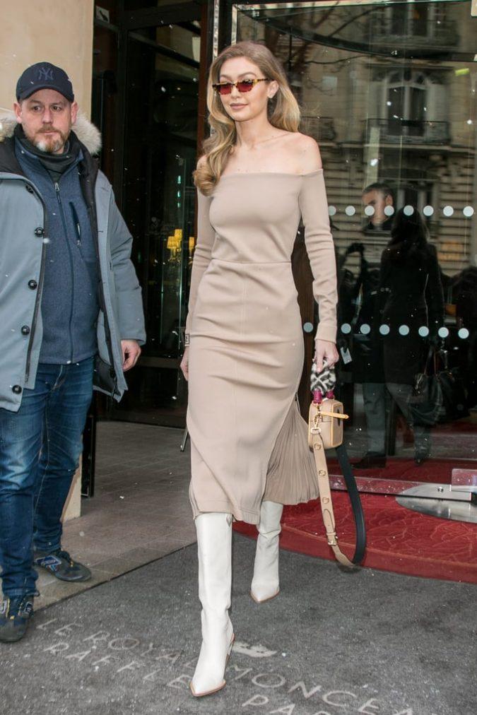 winter-fashion-outfit-Gigi-Hadid-White-Fendi-Boots-675x1012 70+ Retro Fashion Ideas & Trends for Fall/Winter 2019