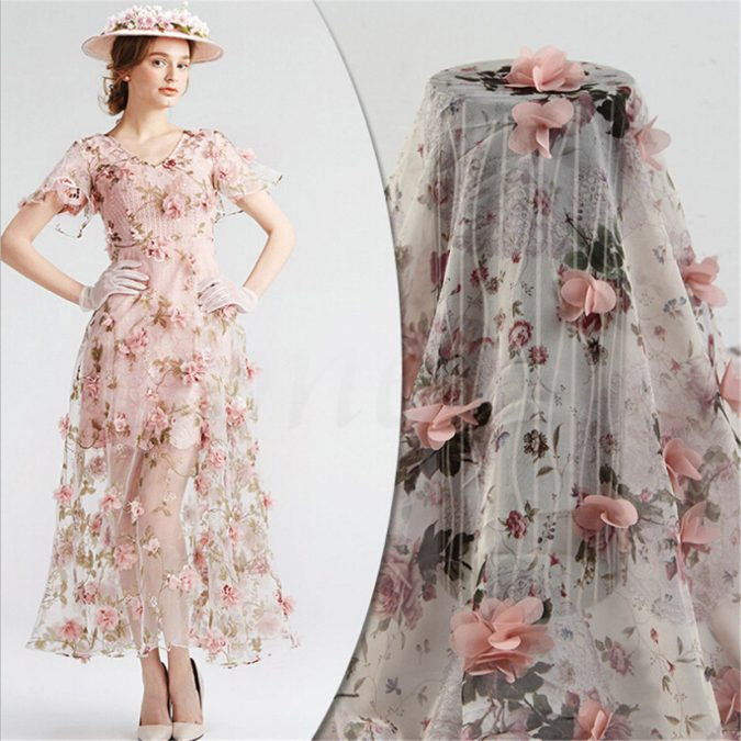 Lace-Fabric-Organza-3D-Chiffon-Rose-Floral-Embroidery-675x675 150+ Bridal Fashion Trends and Ideas for Fall/winter 2019