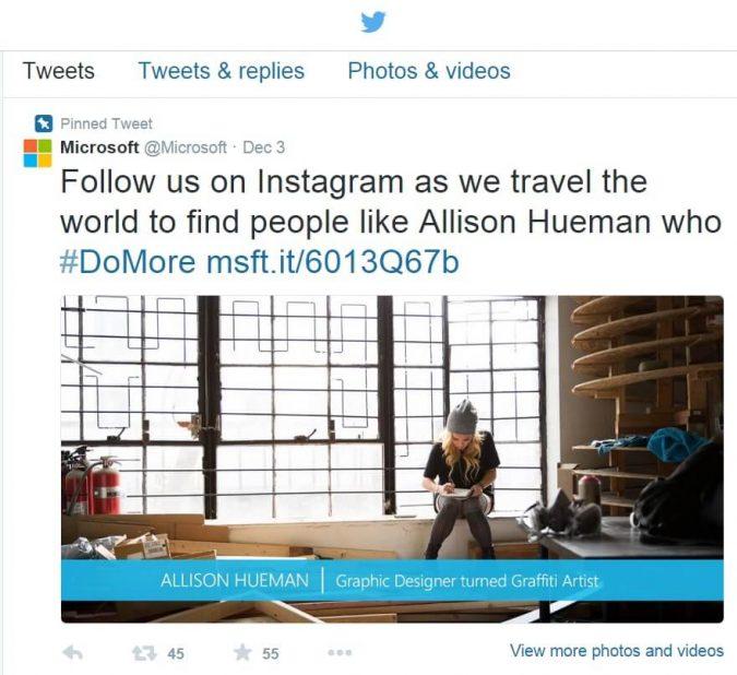 Microsoft-Twitter-promoting-Instagram-675x618 4 Instagram Marketing Tips for Brands
