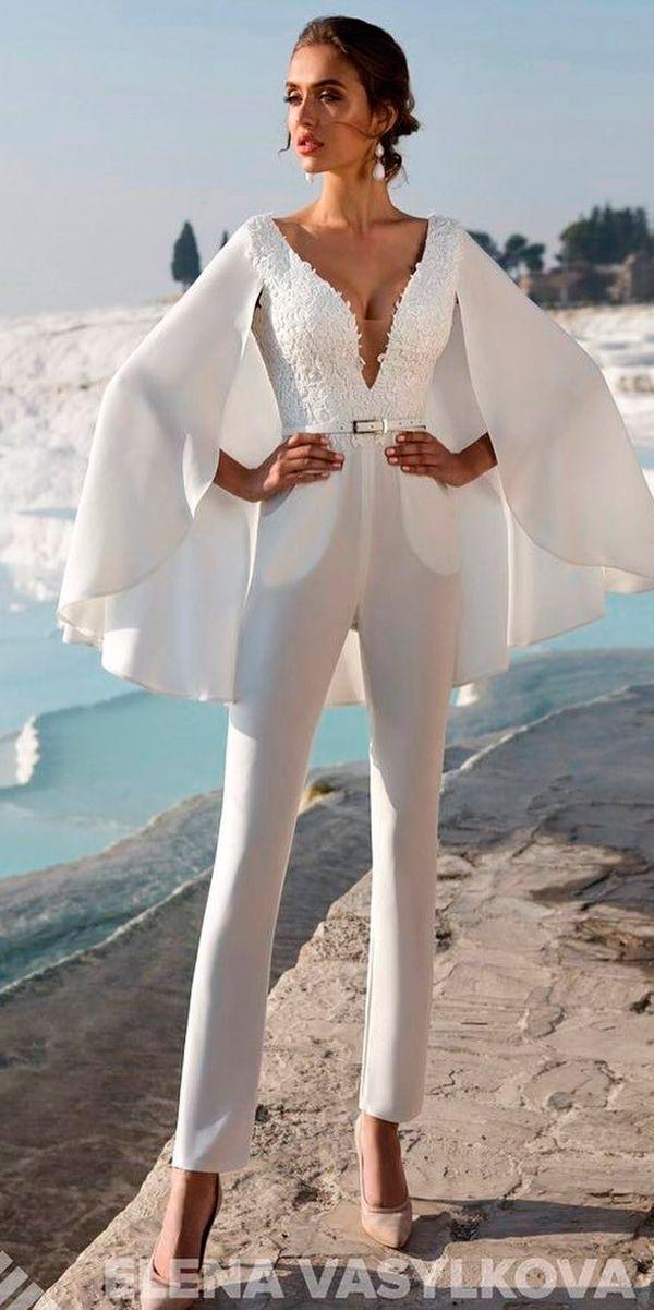 classic-deep-v-neckline-lace-wedding-jumpsuit-ideas-elena-vasylkova-official-1 150+ Bridal Fashion Trends and Ideas for Fall/winter 2019