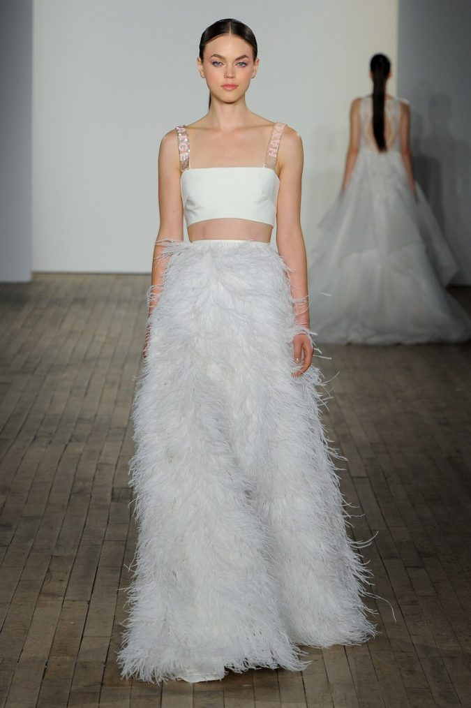 feathers-haylet-paige-separates-crop-wedding-dress-675x1014 150+ Bridal Fashion Trends and Ideas for Fall/winter 2020