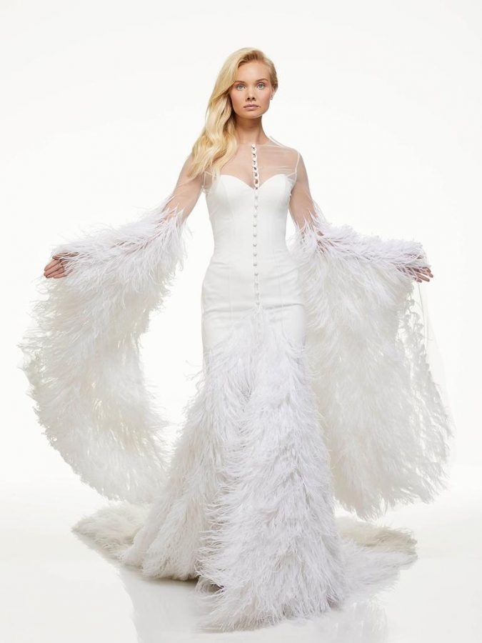 feathers..-675x900 150+ Bridal Fashion Trends and Ideas for Fall/winter 2019