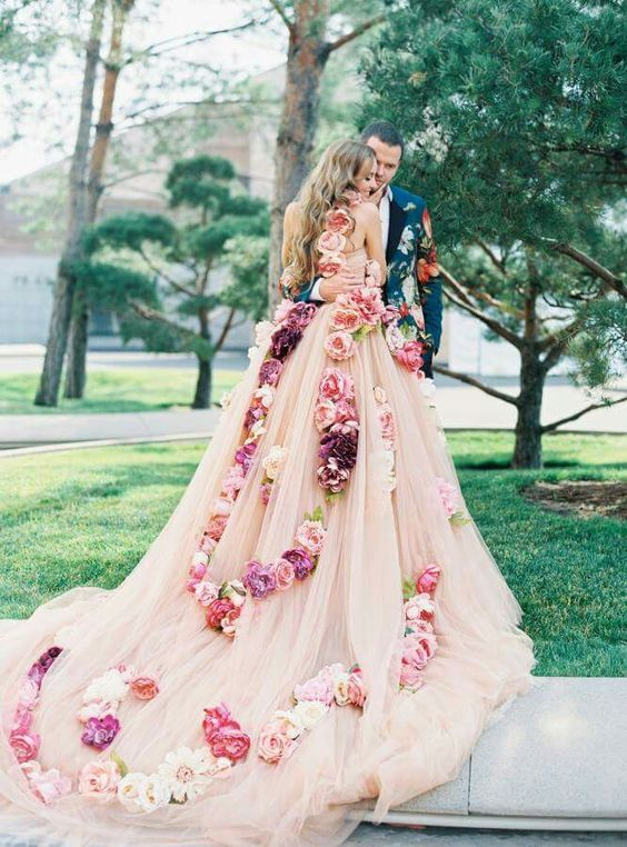 floral-gowns.. 150+ Bridal Fashion Trends and Ideas for Fall/winter 2019