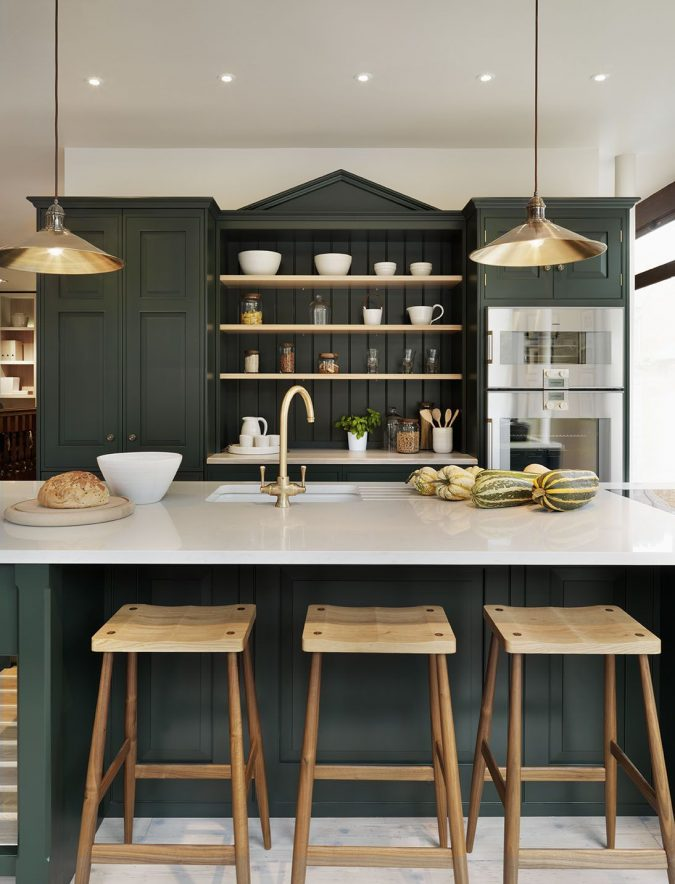 hunter-green-kitchen-675x884 Top 10 Stylish and Practical Kitchen Design Trends for 2019