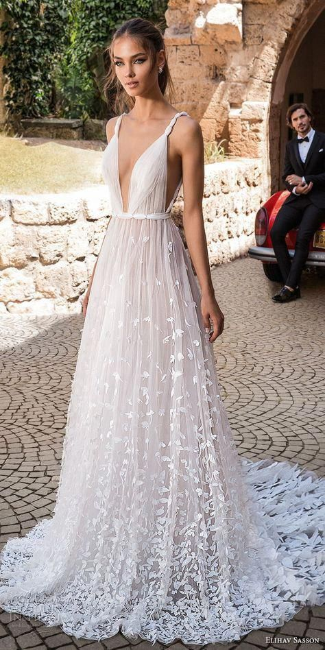 romona-keveza-fall-2019-v-neckline- 150+ Bridal Fashion Trends and Ideas for Fall/winter 2020