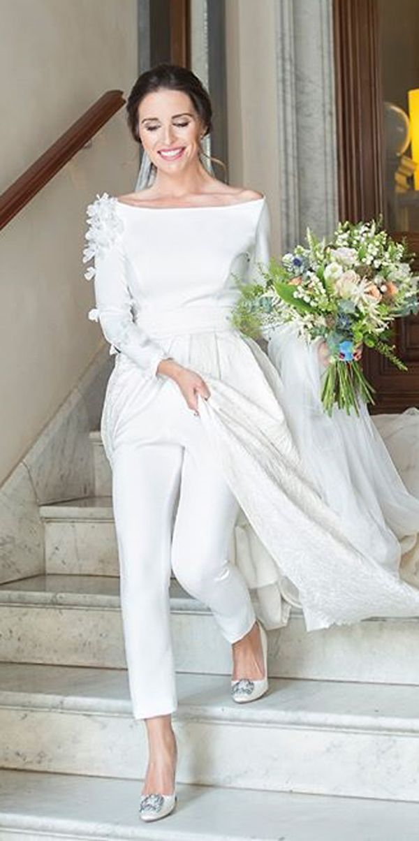 simple-open-shoulders-bateau-neck-long-sleeve-with-train-wedding-pantsuit-jumpsuit-ideas-danaetobajas-couture-2 150+ Bridal Fashion Trends and Ideas for Fall/winter 2019