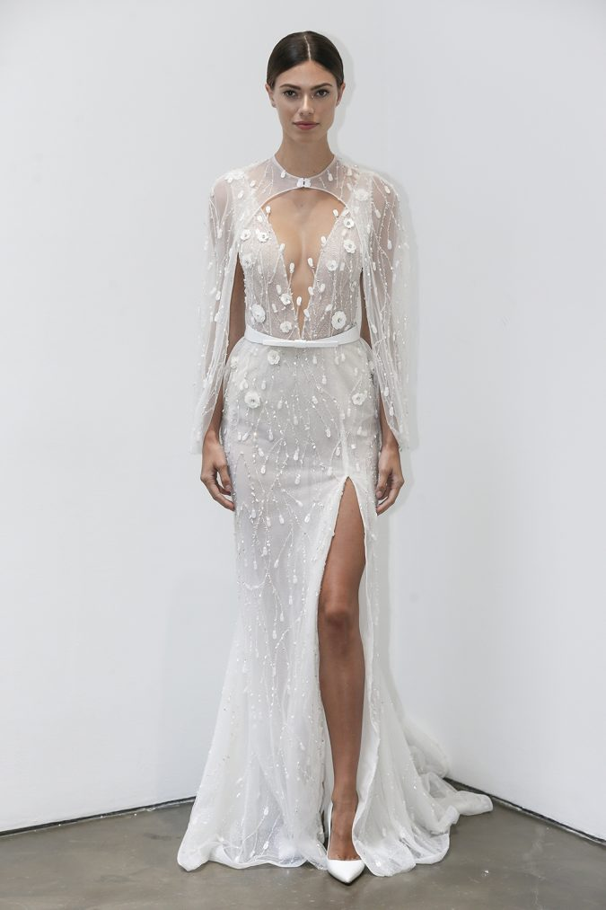 wedding-dresses-fall-2019-sheath-plunging-neckline-with-cape-lee-petra-1-675x1013 150+ Bridal Fashion Trends and Ideas for Fall/winter 2019