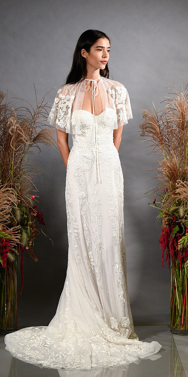 wedding-dresses-fall-2019-sheath-sweetheart-neckline-with-cape-floral-lace-hermione-de-paula 150+ Bridal Fashion Trends and Ideas for Fall/winter 2019