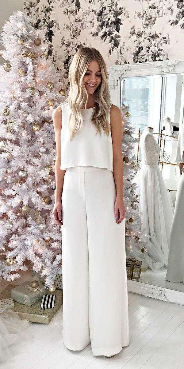 wedding-pantsuit-ideas-classy-sleeveless-separates-alexandra-grecco 150+ Bridal Fashion Trends and Ideas for Fall/winter 2020