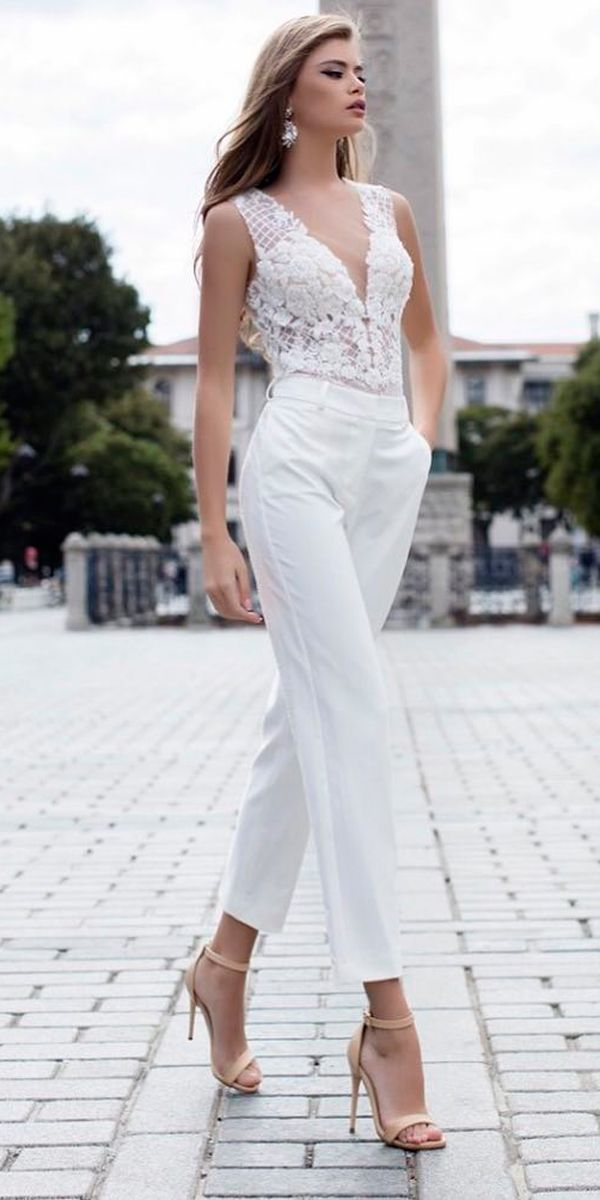 wedding-pantsuit-ideas-fashion-lace-sleeveless-v-neckline-liretta 150+ Bridal Fashion Trends and Ideas for Fall/winter 2020