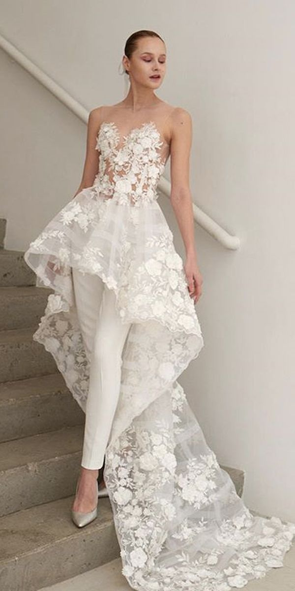 wedding-pantsuit-ideas-lace-over-skirt-illusion-sweetheart-neck-with-train-francesca-miranda-1 150+ Bridal Fashion Trends and Ideas for Fall/winter 2020