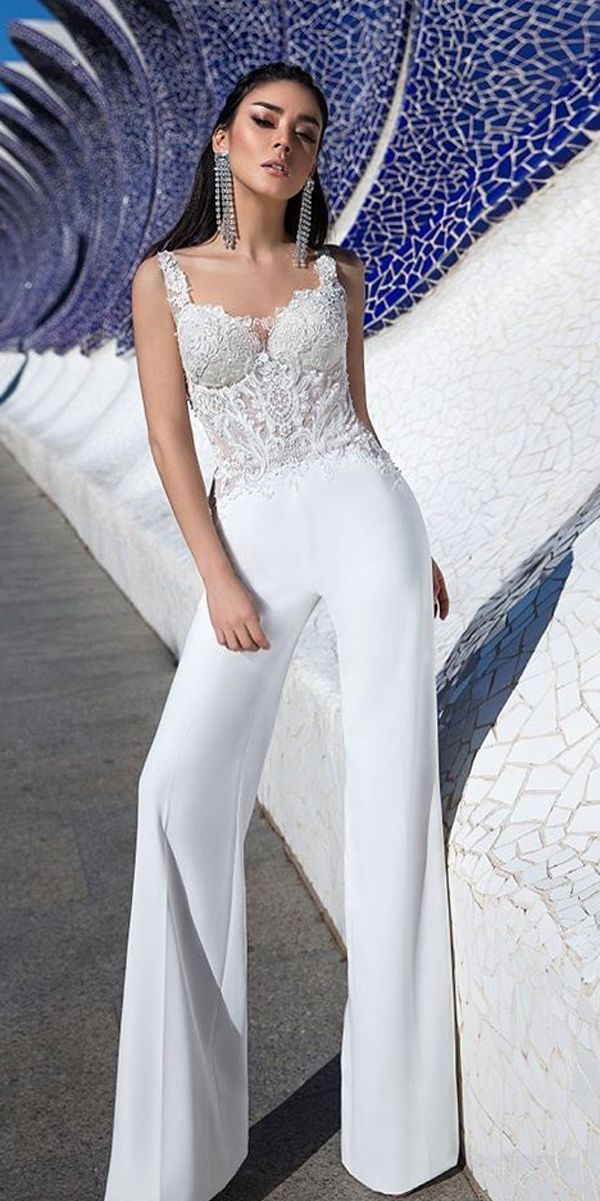 wedding-pantsuit-ideas-lace-sweetheart-neck-with-straps-simple-straight-pants-ladianto-2 150+ Bridal Fashion Trends and Ideas for Fall/winter 2019